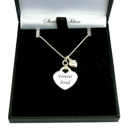 Engraved Sterling Silver Heart Necklace with Tiny Heart